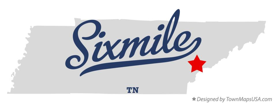 Map of Sixmile Tennessee TN