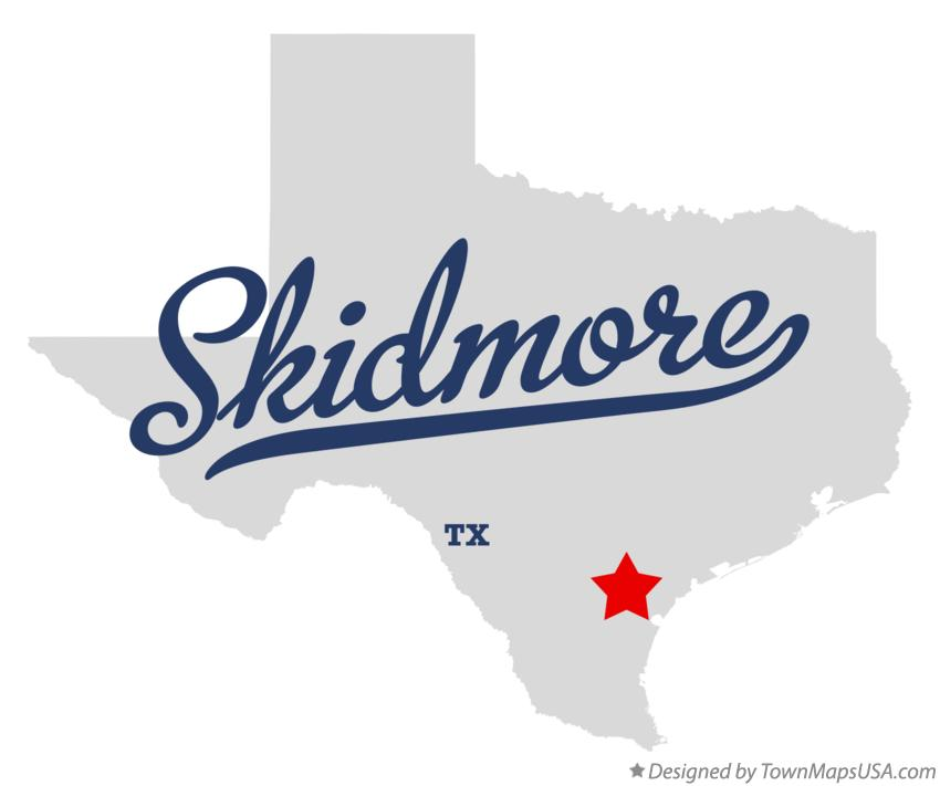 Map of Skidmore Texas TX