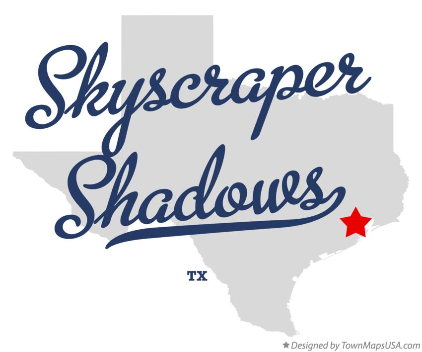 Map of Skyscraper Shadows Texas TX