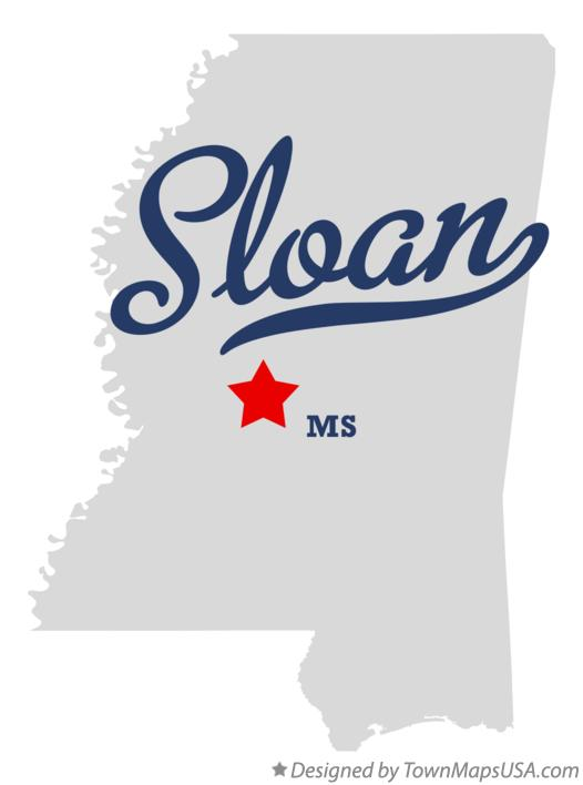 Map of Sloan Mississippi MS