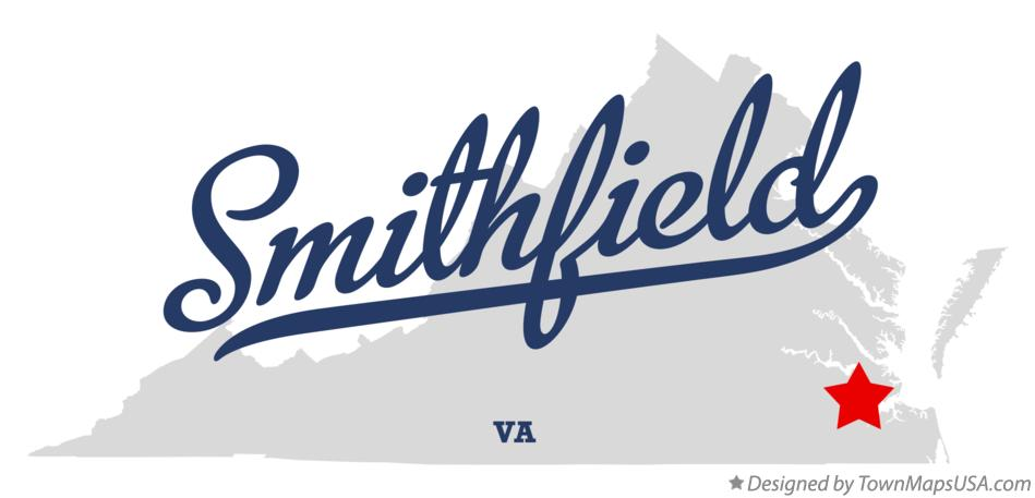 Map of Smithfield Virginia VA