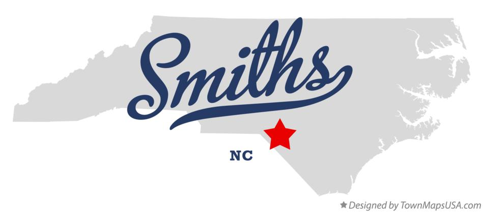 Map of Smiths North Carolina NC