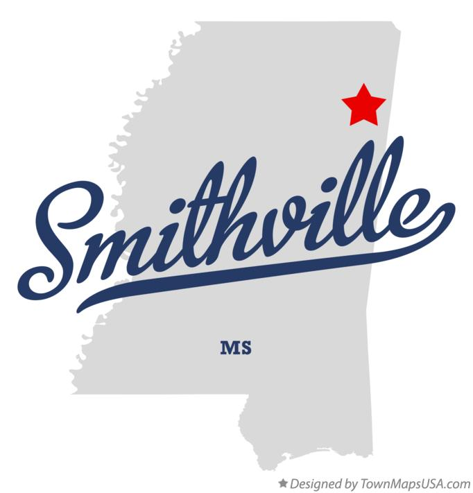 Map of Smithville Mississippi MS