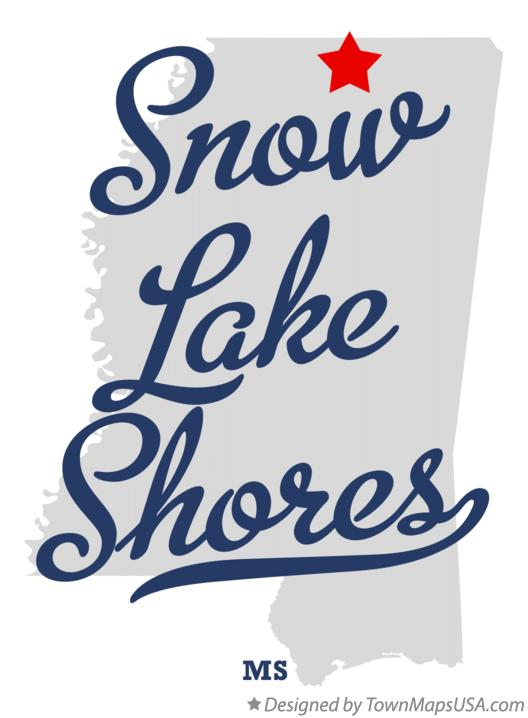 Map of Snow Lake Shores Mississippi MS
