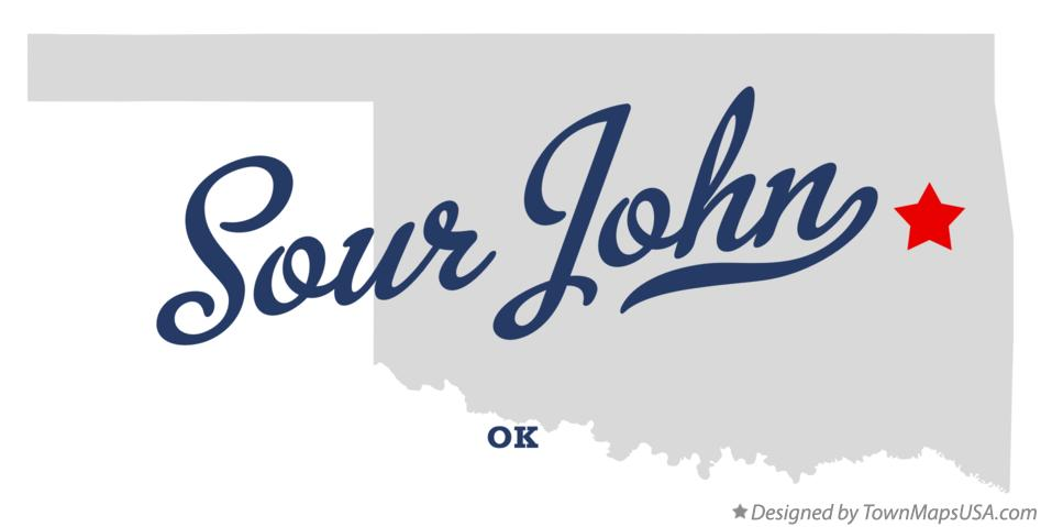 Map of Sour John Oklahoma OK