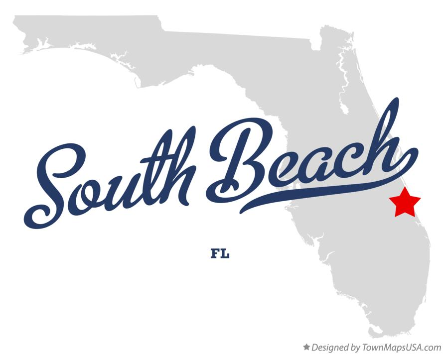Map of South Beach Florida FL