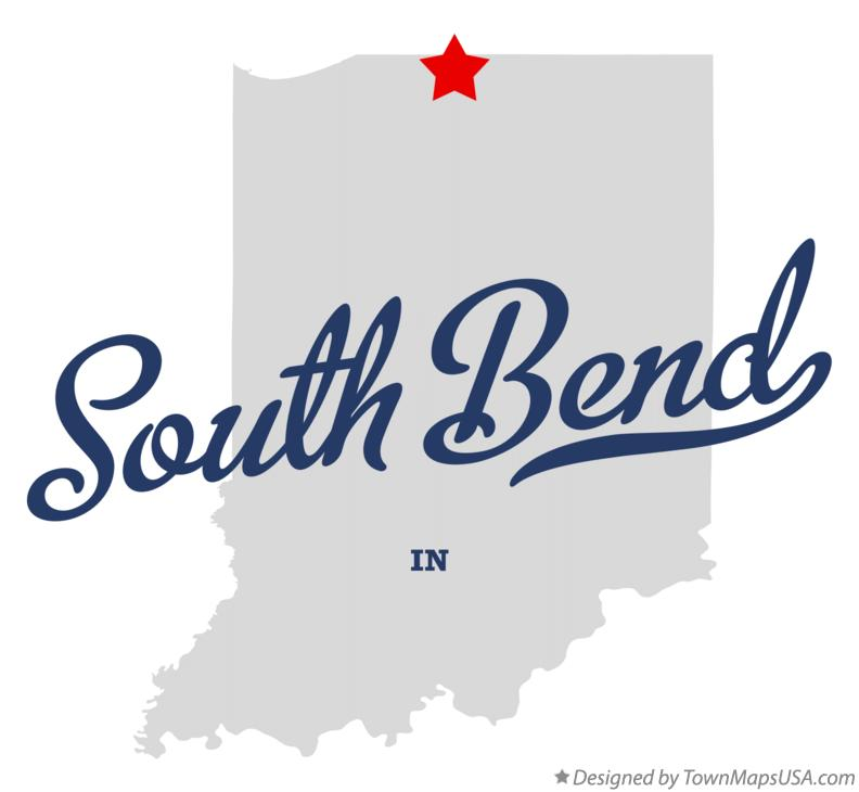 Map of South Bend Indiana IN