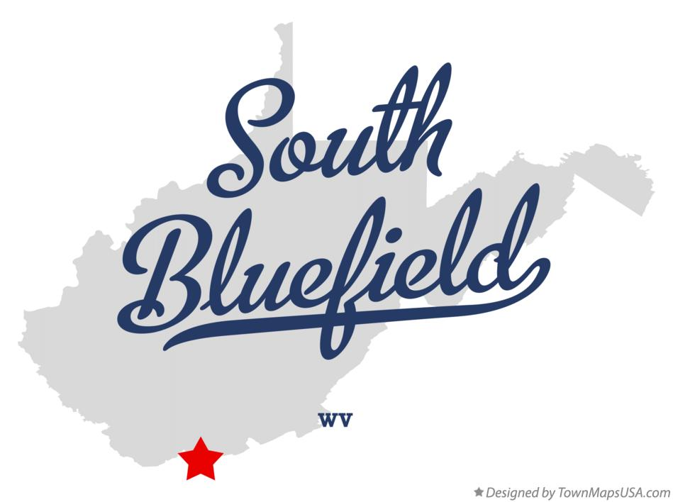 Map of South Bluefield West Virginia WV
