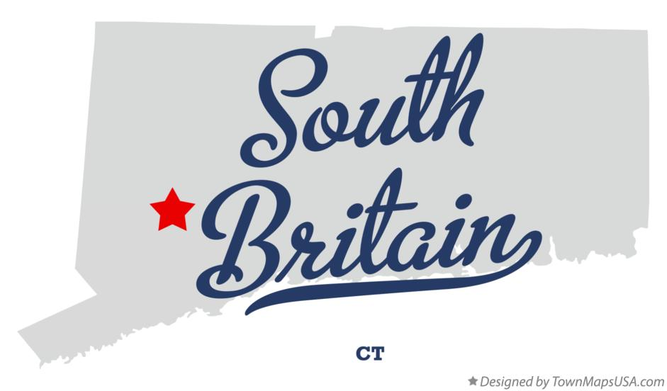 Map of South Britain Connecticut CT