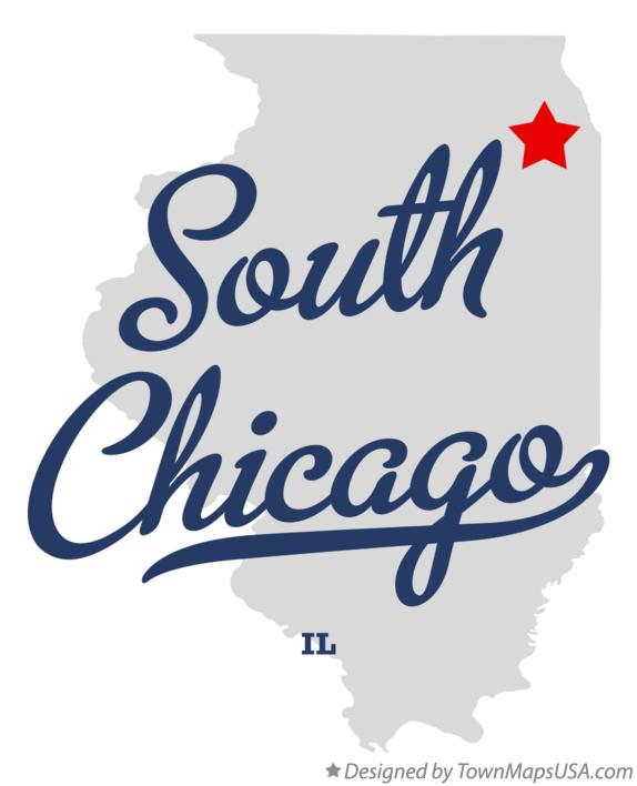 Map of South Chicago Illinois IL