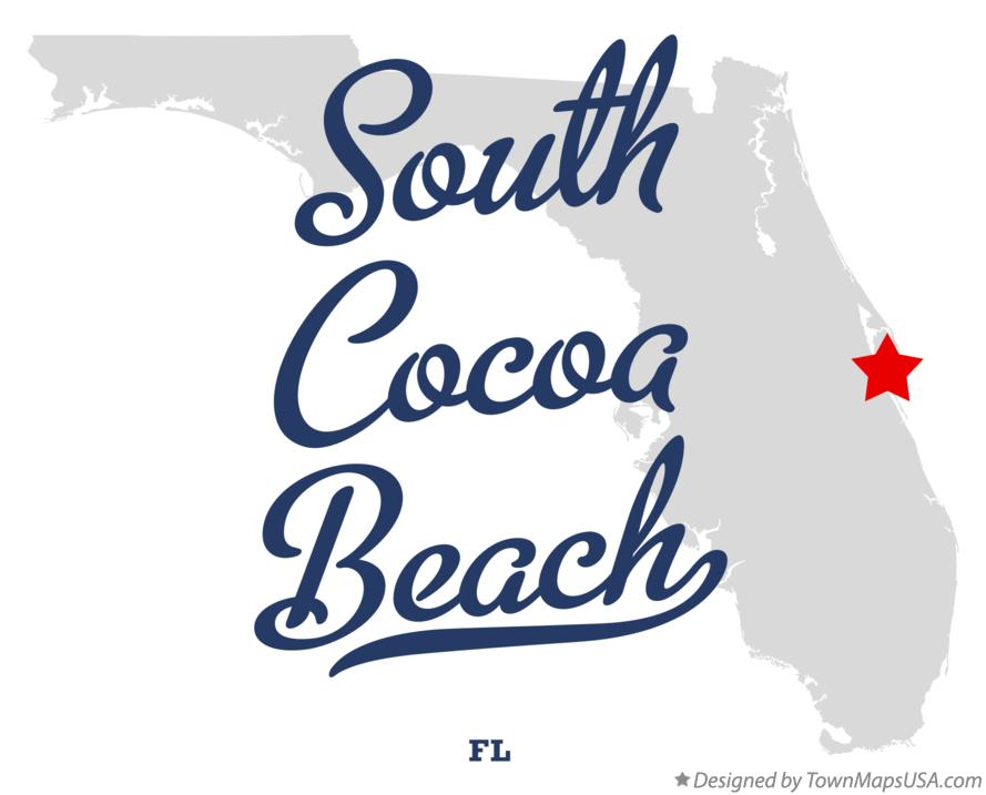 Map of South Cocoa Beach Florida FL