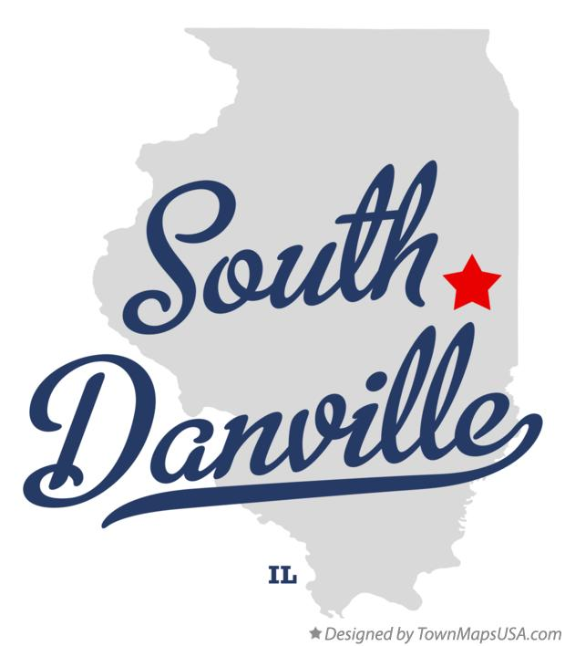 Map of South Danville Illinois IL