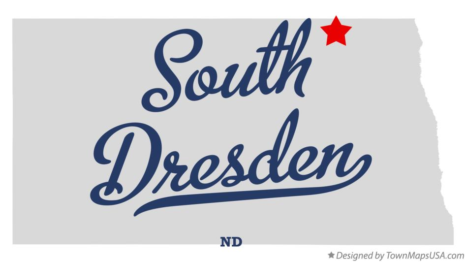 Map of South Dresden North Dakota ND
