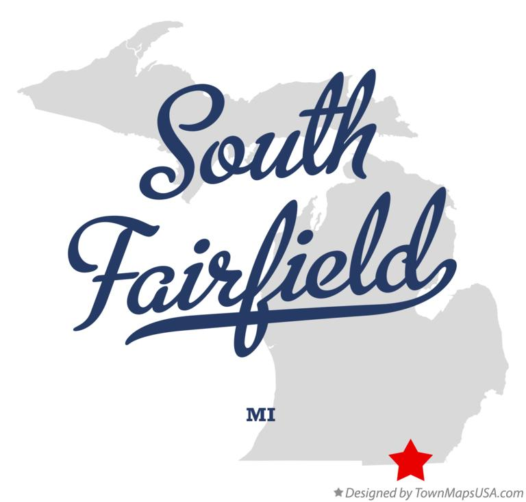 Map of South Fairfield Michigan MI
