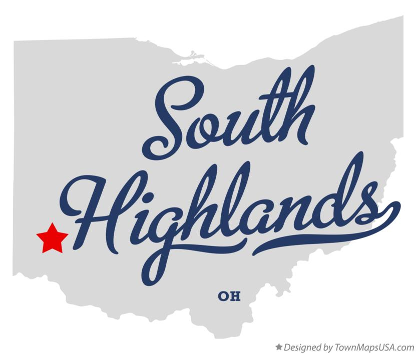 Map of South Highlands Ohio OH