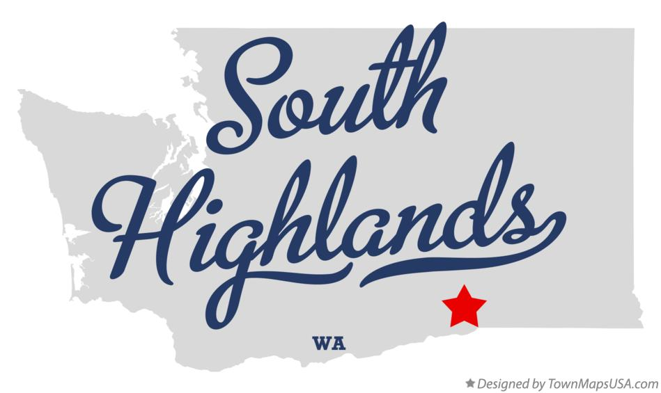 Map of South Highlands Washington WA