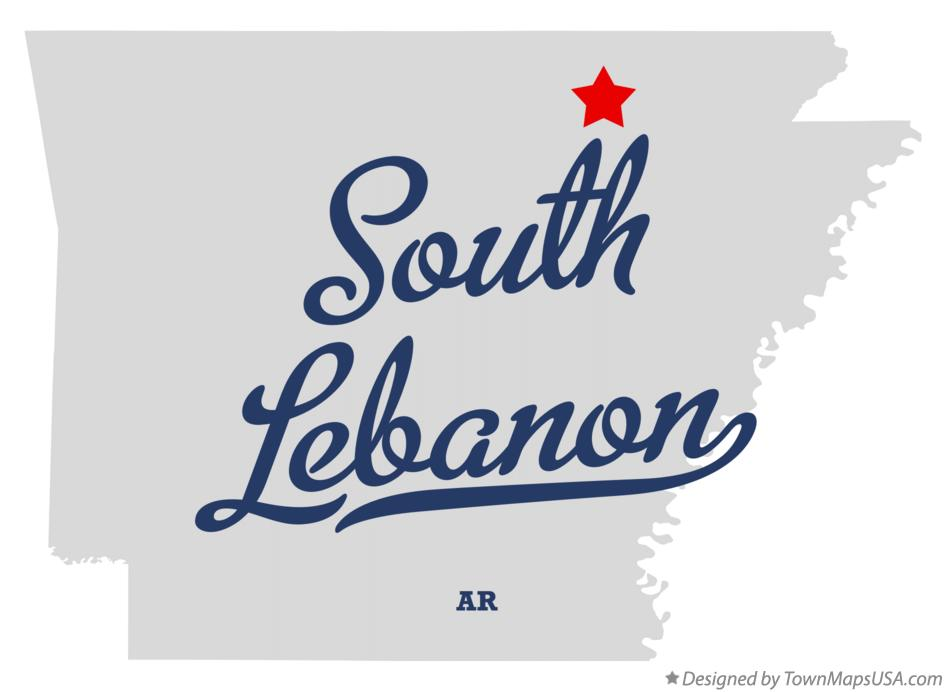 Map of South Lebanon Arkansas AR