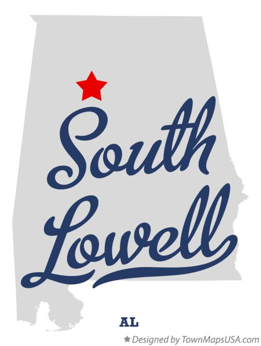 Map of South Lowell Alabama AL