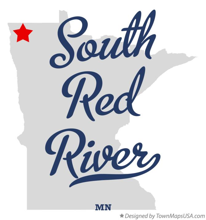 Map of South Red River Minnesota MN