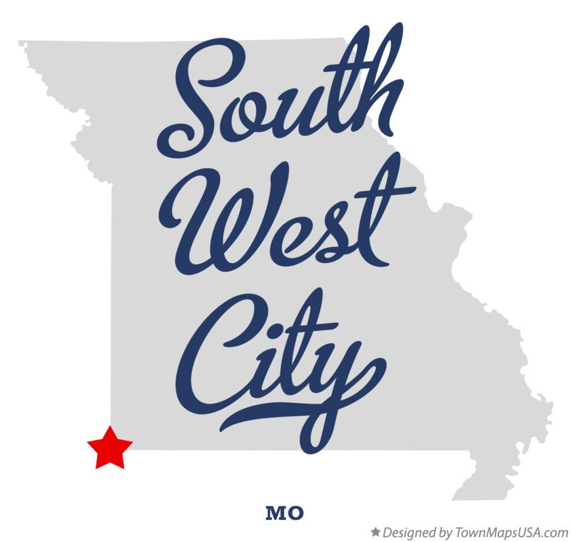 Map of South West City Missouri MO