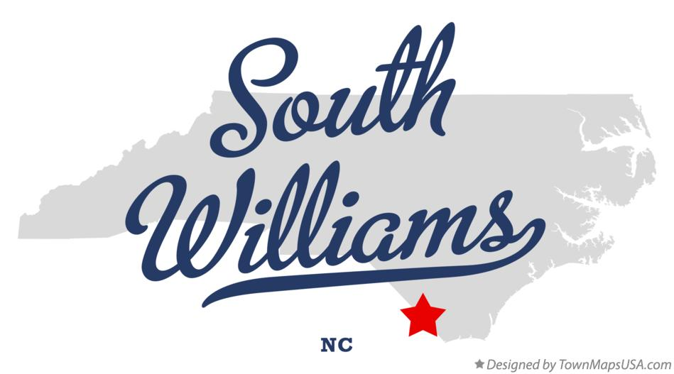 Map of South Williams North Carolina NC