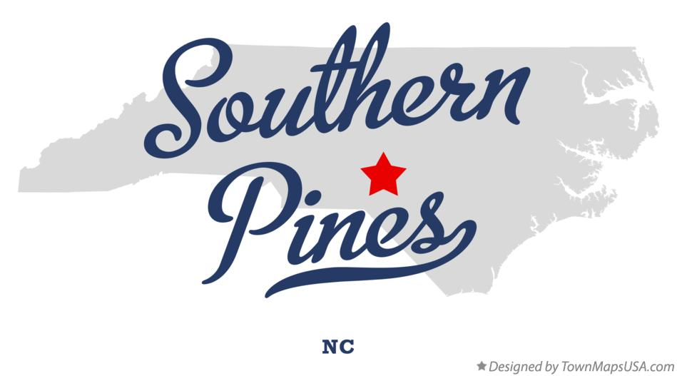 Map of Southern Pines, NC, North Carolina