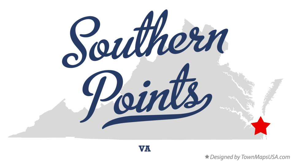 Map of Southern Points Virginia VA