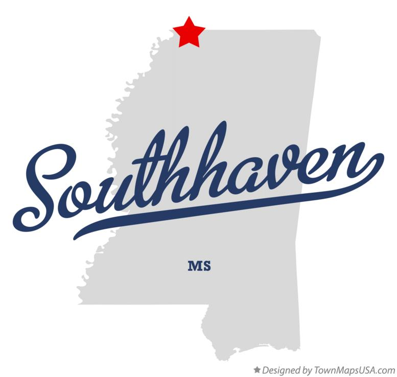 Map of Southhaven Mississippi MS