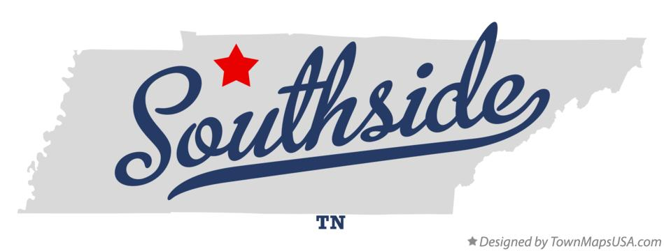 Map of Southside Tennessee TN