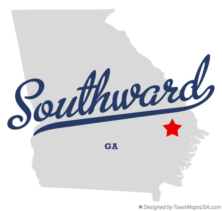 Map of Southward Georgia GA