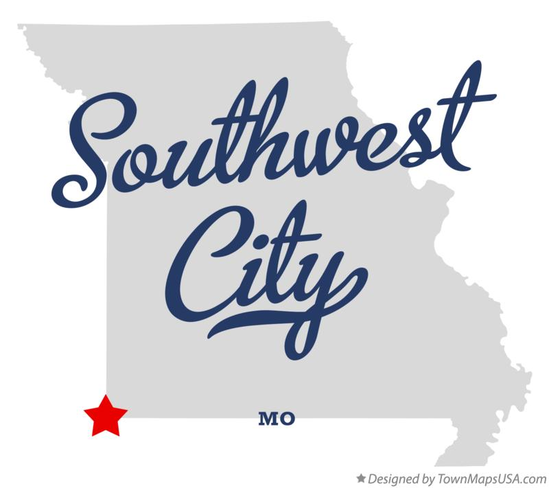 Map of Southwest City Missouri MO