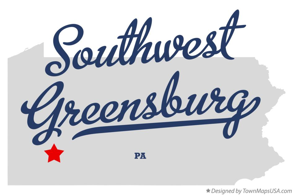 Map of Southwest Greensburg Pennsylvania PA
