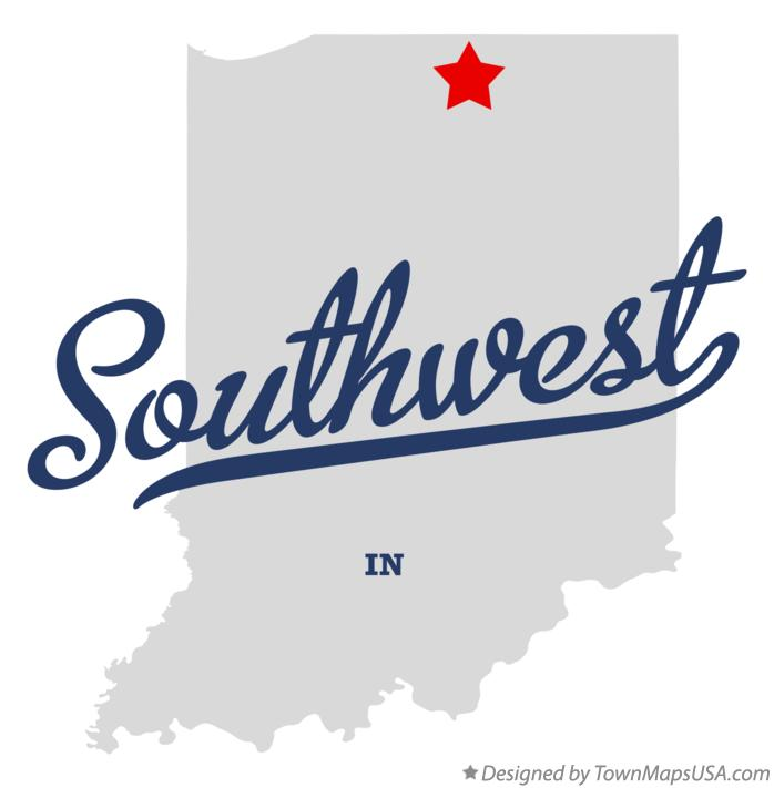 Map of Southwest Indiana IN