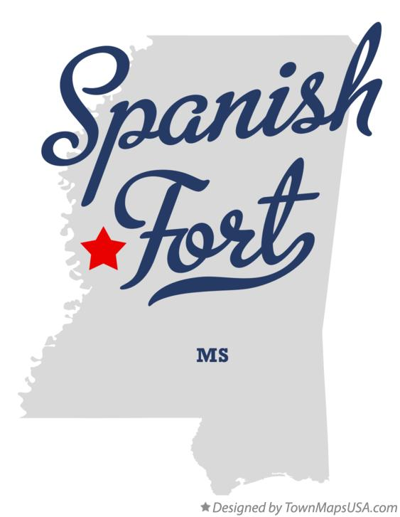 Map of Spanish Fort Mississippi MS