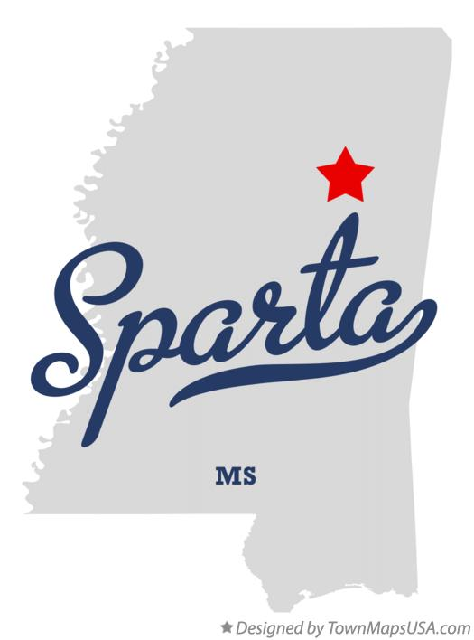 Map of Sparta Mississippi MS