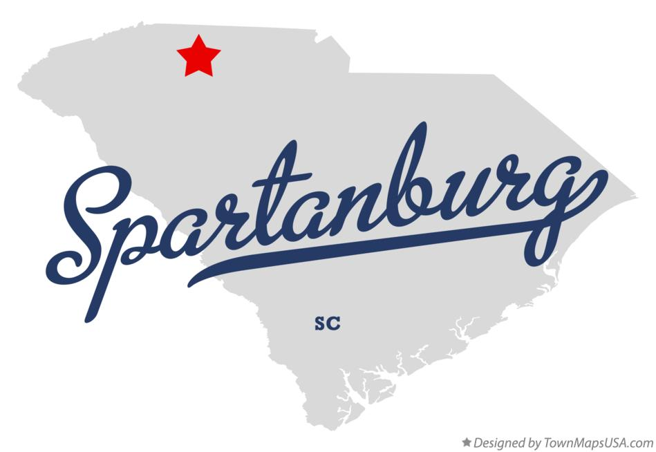 Map of Spartanburg South Carolina SC