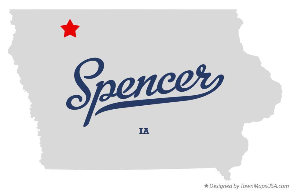 Map of Spencer, IA, Iowa