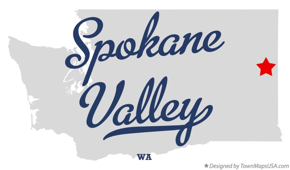 Map of Spokane Valley Washington WA