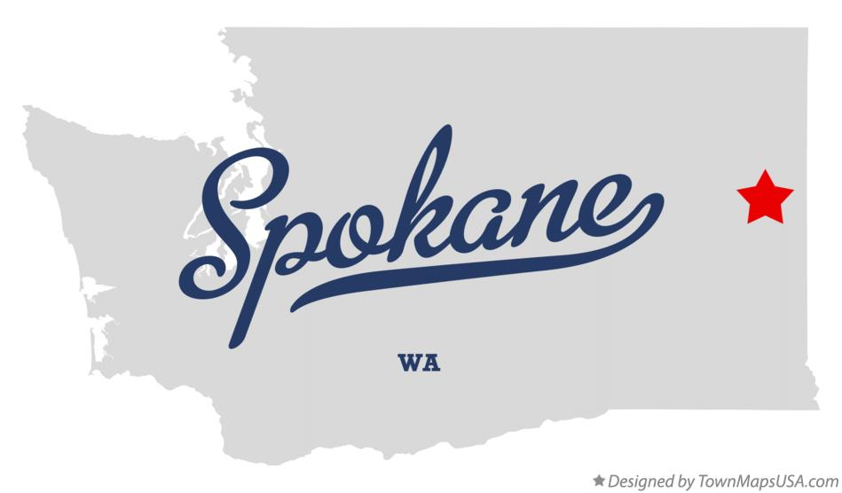 Map of Spokane, WA, Washington