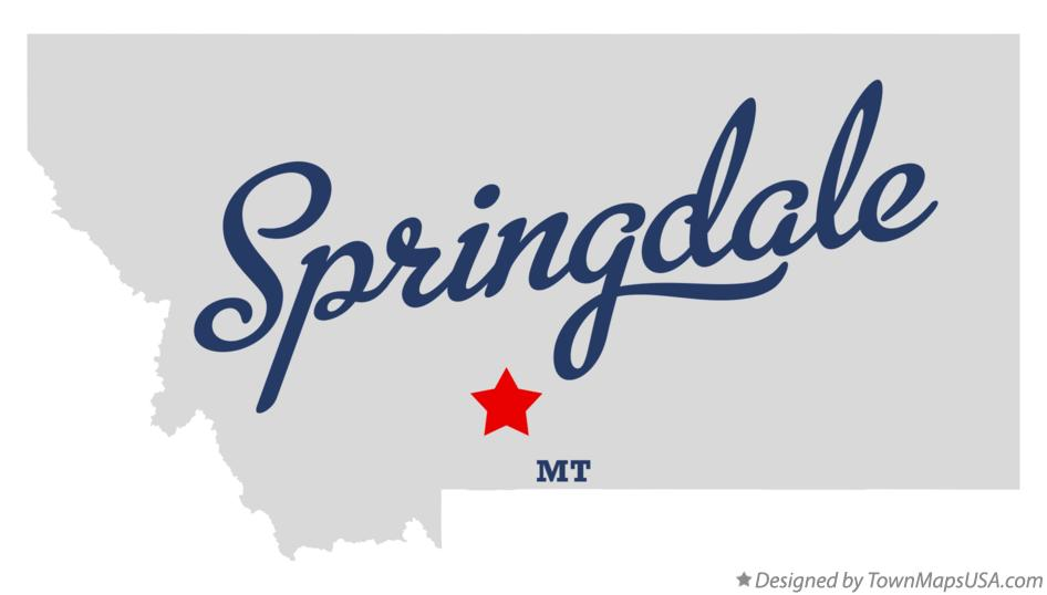 Map of Springdale Montana MT