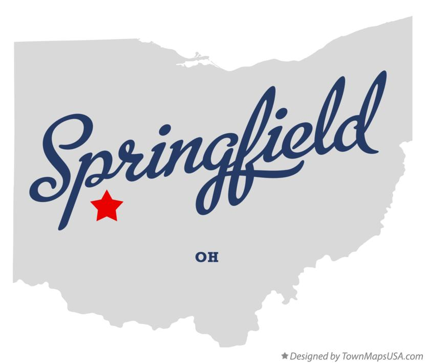 Map of Springfield, Clark County, OH, Ohio