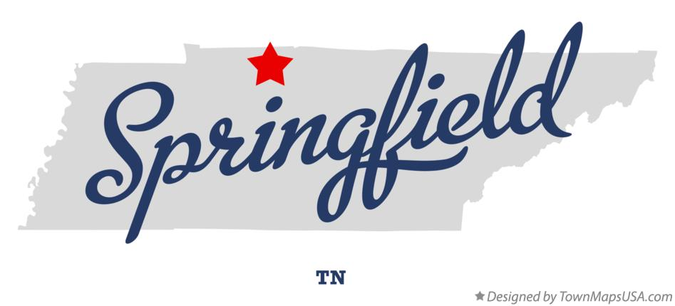 Map of Springfield Tennessee TN