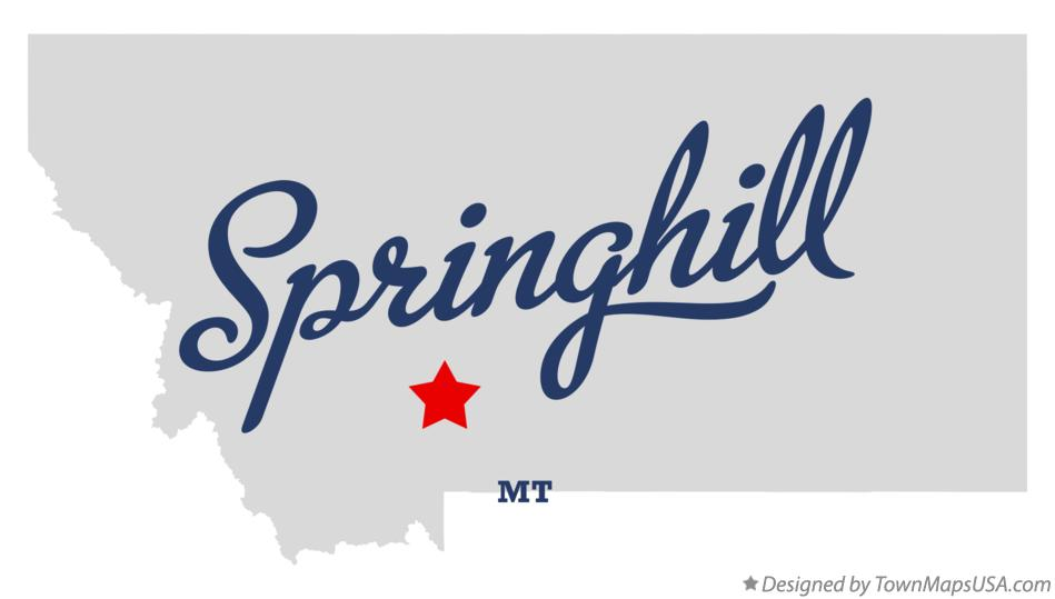 Map of Springhill Montana MT