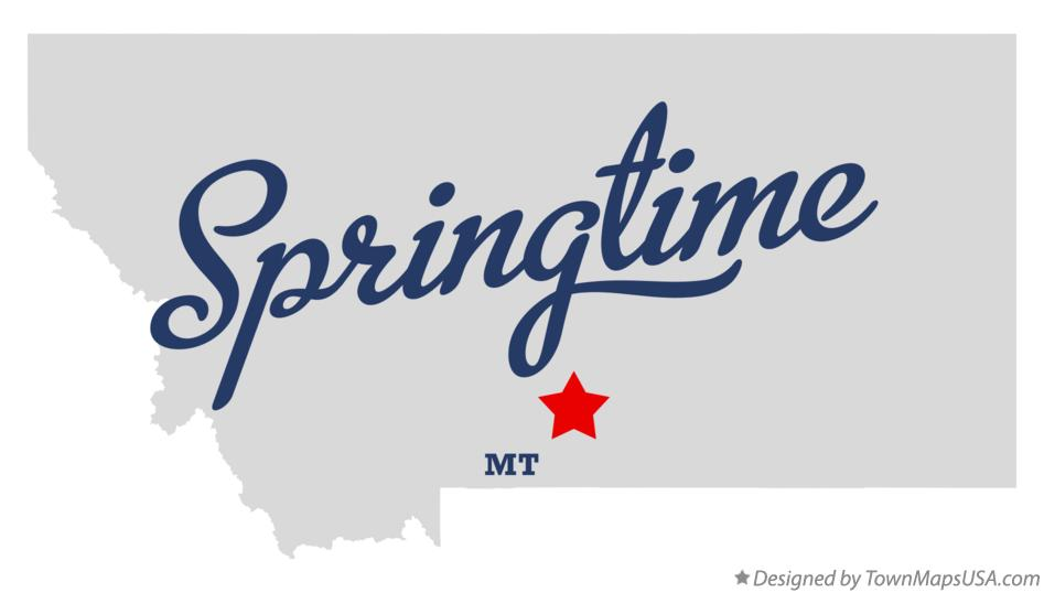 Map of Springtime Montana MT