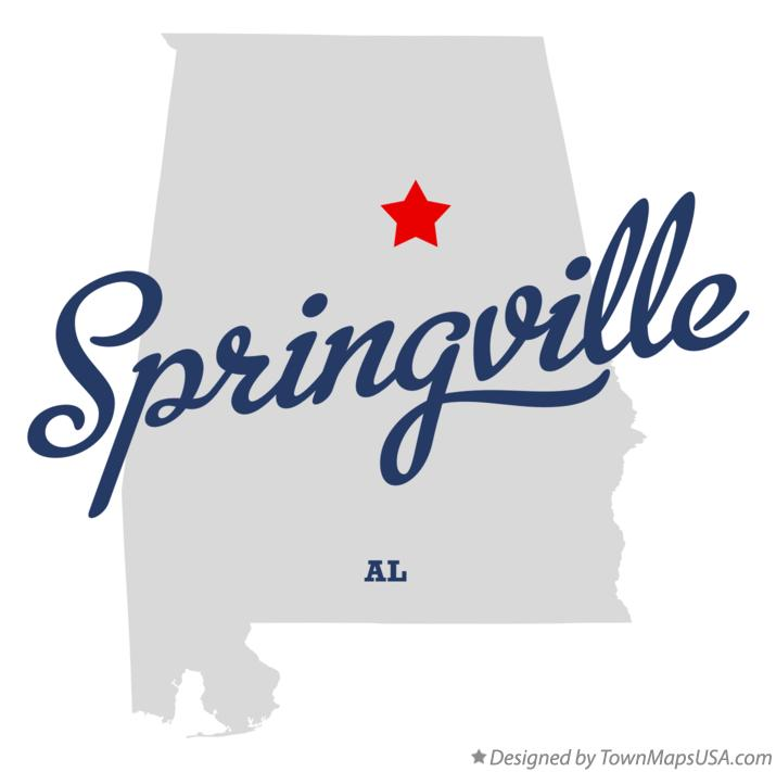 Map of Springville Alabama AL