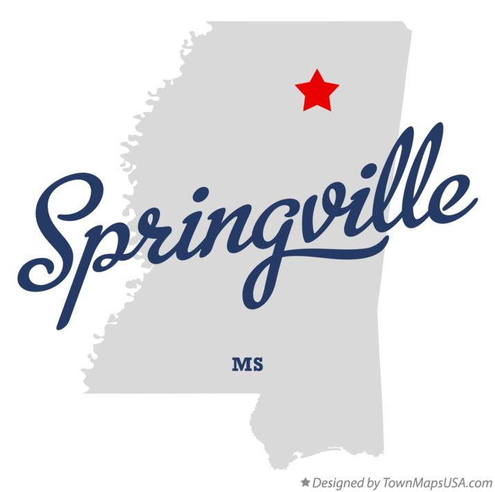 Map of Springville Mississippi MS