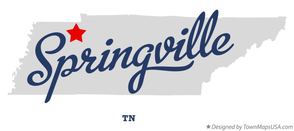 Map of Springville Tennessee TN