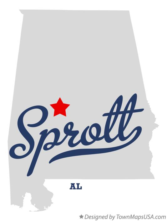 Map of Sprott Alabama AL