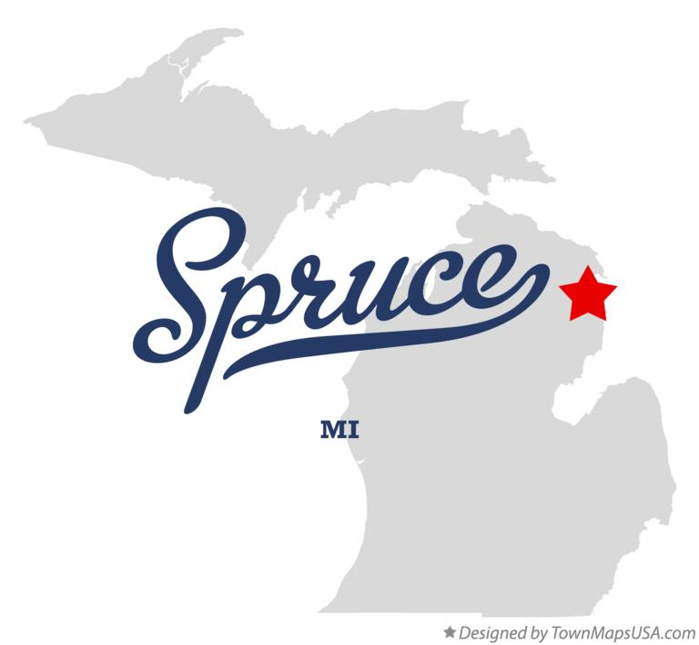 Map of Spruce Michigan MI