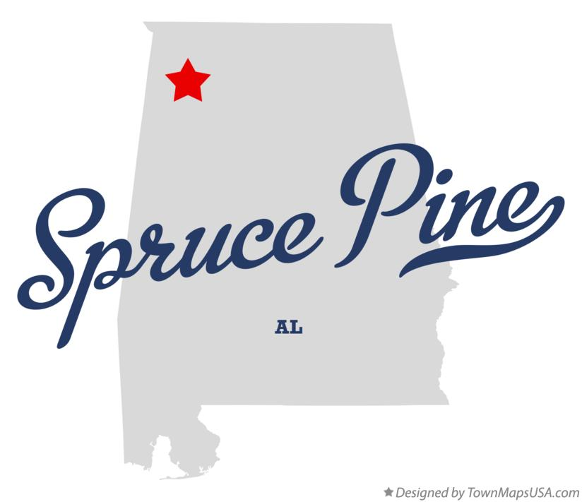 Map of Spruce Pine Alabama AL